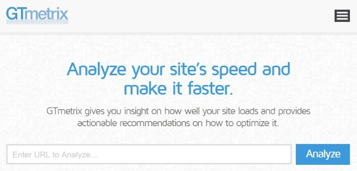 Tools to test WordPress site performance: GTmetrix