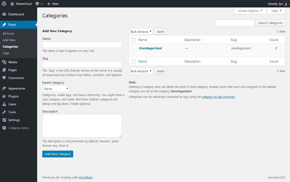 WordPress Categories